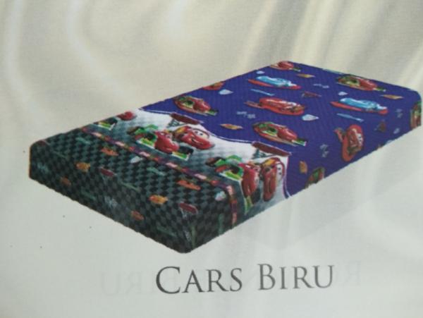 Cars Biru adalah motif dari kasur busa inoac surabaya